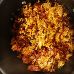 Picture of delectable kimchi & bacon fried rice.