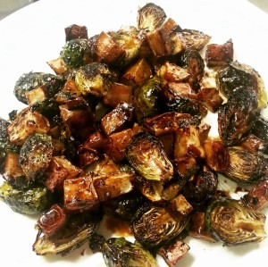 Picture of roasted brussel sprouts and potatoes.